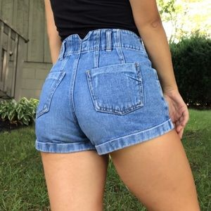 Vintage medium wash High Waisted Mom Jean Shorts